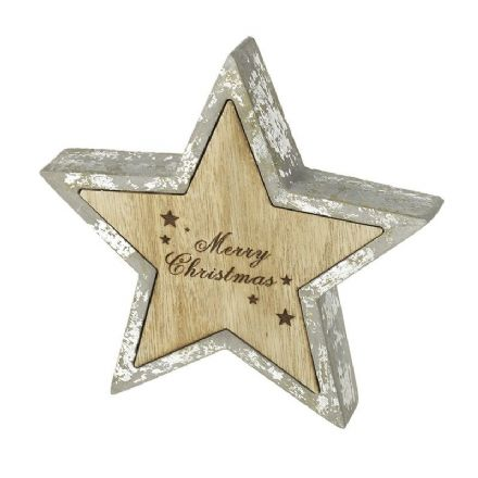 Cement And Wooden Merry Christmas Star